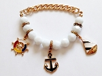 Gold/White Tone Naval Sailing Chain Bracelet, Anchor Wheel Ship Charms, Nautical Jewelry