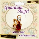 Garnet-January Birthstone Guardian Angel Pin, Genuine Austrian Crystals