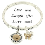Live Laugh Love Inspirational Message Charm Bracelet, Happiness Ribbon