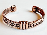 Magnetic Copper Cuff Bracelet Triple Twisted Rope w/ Knot, Arthritis Natural Cure