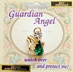 Emerald-May Birthstone Guardian Angel Pin, Genuine Austrian Crystals