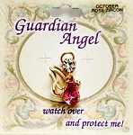 Rose Zircon-October Birthstone Guardian Angel Pin, Genuine Austrian Crystals