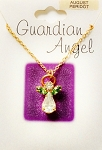 Peridot-August Birthstone Guardian Angel Pendant Necklace, Genuine Austrian Crystals