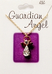 Ruby-July Birthstone Guardian Angel Pendant Necklace, Genuine Austrian Crystals