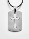 Stainless Tone Double Cross Pendant Beach Necklace Mens