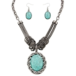 Turquoise Large Pendant Gunsmoke Hybrid Chain Necklace Earrings Set