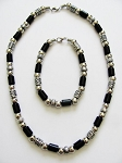 Vintage Apache Tribe Beaded Men's Beach Necklace Bracelet, Chrome Black Surfer Jewelry