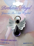 Amethyst February Birthstone Angel Pin, Genuine Austrian Crystals