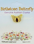 Amethyst-February Birthstone Butterfly Pin Gold Tone, Genuine Austrian Crystal