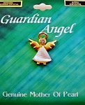 Crystal-April Birthstone Guardian Angel Pin, Genuine Mother-of-Pearl & Austrian Crystal