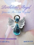 Aquamarine March Birthstone Angel Pin, Genuine Austrian Crystals