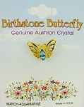Aquamarine-March Birthstone Butterfly Pin Gold Tone, Genuine Austrian Crystal
