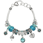 Aquamarine March Birthstone Charm Bracelet Murano Beads, Pandora Style Inspired