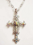 Aurora Borealis Crystal Vintage Cross Pendant Necklace Filigree Style, Genuine Austrian Crystals