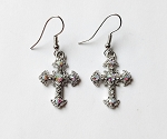 Aurora Borealis Diamond Filigree Cross Earrings, Genuine Austrian Crystal
