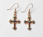 Aurora Borealis Topaz Gold Cross Filigree Earrings, Genuine Austrian Crystal