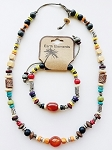 Bahamas Beach Earth Elements Necklace Bracelet, Spiritual Beaded Surfer Men's Jewelry