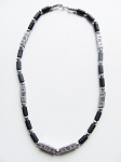 Beach Party Fun Beaded Men's Necklace, Chrome Black Surfer Jewelry