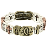 Believe Faith Love Inspirational Bracelet, Tri-tone Stretching
