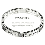 Believe Inspirational Bracelet Vintage Ornament, Stretch Silver Tone Metal