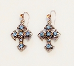 Blue Topaz Silver Cross Filigree Earrings, Genuine Austrian Crystal