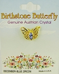 Blue Zircon-December Birthstone Butterfly Pin Gold Tone, Genuine Austrian Crystal