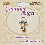 Blue Zircon-December Birthstone Guardian Angel Pin, Genuine Austrian Crystals
