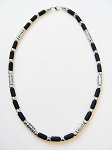 Cancun Beach Dusk Survivor Beaded Necklace, Men's Surfer Choker Black