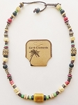Cancun Beach Earth Elements Necklace, Spiritual Beaded Surfer Men's Jewelry