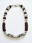 Cancun Beach Random Letters Men's Bracelet Beaded Brown Chrome, Surfer Style