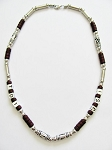 Cancun Beach Random Letters Men's Necklace Beaded Brown Chrome, Surfer Style