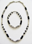 Cancun Beach Random Letters Men's Necklace Bracelet Beaded Black Chrome, Surfer Style