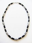 Cancun Beach Sundown Survivor Beaded Necklace, Men's Surfer Choker Black