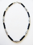 Cancun Beach Twilight Survivor Beaded Necklace, Men's Surfer Choker Black