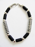 Cancun Beach Hot Chrome Extreme Black Bead Bracelet, Men's Surfer Style