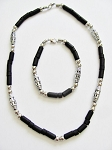 Cancun Beach Chrome Extreme Black Men's Bead Necklace Bracelet, Surfer Style