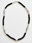 Cancun Beach Chrome Extreme Black Men's Bead Necklace, Surfer Style