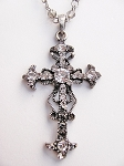 Clear Diamond Vintage Cross Pendant Necklace Filigree Style, Genuine Austrian Crystals