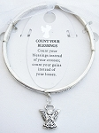Count Your Blessings Bracelet Inspirational Message Angel Charm Silver