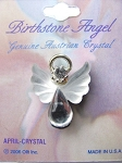 Crystal April Birthstone Angel Pin, Genuine Austrian Crystals
