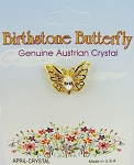 Crystal-April Birthstone Butterfly Pin Gold Tone, Genuine Austrian Crystal