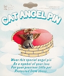 Cute Cat Angel Pin Gold Wings & Nimbus