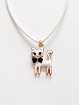 Cute White Cat Pendant Beach Necklace Gold Tone