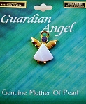 Blue Zircon-December Birthstone Guardian Angel Pin, Genuine Mother-of-Pearl & Austrian Crystal