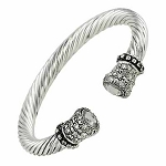 Designer`s Touch Clear Diamond Cuff Bracelet Twisted Wire Cable, Rhinestones