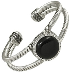 Designer`s Touch Large Black Onyx Double Cuff Bracelet Rhinestones, Twisted Wire Cable