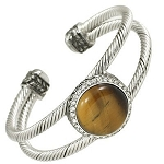 Designer`s Touch Large Tiger Eye Double Cuff Bracelet Rhinestones, Twisted Wire Cable