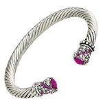 Designer`s Touch Pink Fuchsia Cuff Bracelet Twisted Wire Cable, Rhinestones