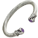 Designer`s Touch Purple Amethyst Cuff Bracelet Twisted Wire Cable, Rhinestones