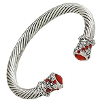 Designer`s Touch Red Coral Cuff Bracelet Twisted Wire Cable, Rhinestones